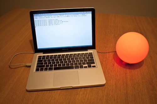 Red internet-connected lamp