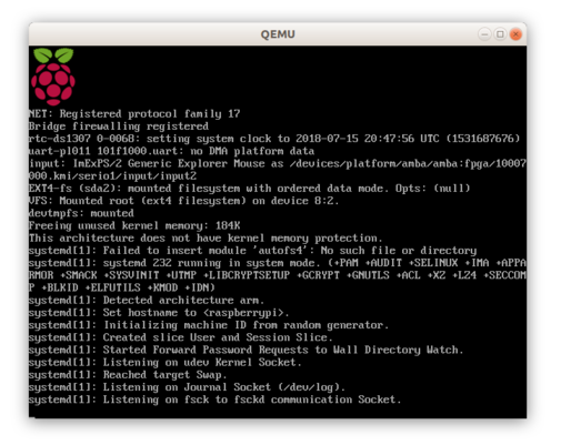 Screenshot of Raspberry Pi emulation running in QEMU
